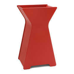 Loll Designs - Hourglass Planter, Apple Red, Large - Who says you have to be a square when it comes to designing containers? Our friend Steve Cozzolino created this whimsical look that will add a depth and inspiration to your garden. The large hourglass Container will make quite a statement as a front door piece. Available in two sizes.