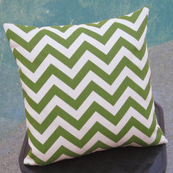 Outdoor Avocado Chevron Pillow Cover by Pillow Peels