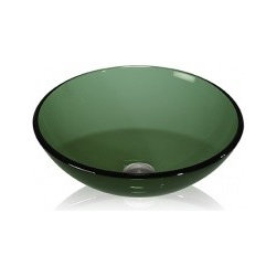 Nature-Inspired Bathroom - Lenova GV-30 Glass Vessel Color Round Bowl Above Counter Bath Sink