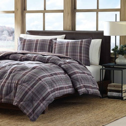Eddie Bauer - Eddie Bauer Port Orchard Down Alternative Reversible 3-piece Comforter Set - Filled with down alternative for warmth,this Port Orchard comforter features a plaid pattern and a super-soft microfiber reverse. Crafted with soft,brushed microsuede,this Eddie Bauer comforter and pillowcase set is conveniently machine washable.