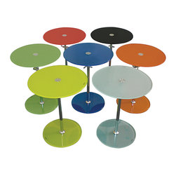 MODERN ROUND GLASS ACCENT TABLE WITH ADJUSTABLE HEIGHT AVOLA - MODERN ROUND GLASS ACCENT TABLE WITH ADJUSTABLE HEIGHT AVOLA