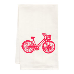 "artgoodiess - Organic Bike Tea Towel - This high quality 100% certified organic cotton tea towel was custom made just for artgoodies! Hand printed with one of my original linocut block print images it measures 20""x28"" and comes wrapped in a green ribbon made from 100% recycled plastic bottles! Nice and absorbent for drying dishes, looks great when company is over, and makes a great housewarming gift!"