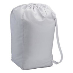 White Liner for Wire Hamper - Tapered hamper in heavy-gauge steel wire rolls on black casters to sort and transport laundry. Washable white canvas liner has a drawstring closure and carrying strap.