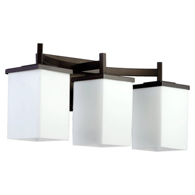 Quorum Lighting - Quorum Lighting Delta Vanity Light - From the Delta Collection, the modern styling of this Quorum Lighting bathroom vanity light allows it to compliment a wide array of settings. The angular frame is accentuated by an Oiled Bronze hue, which pairs beautifully with the contrasting tones of the rectangular satin opal glass diffusers.