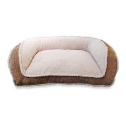 Arlee Home Fashions - Deep Seated Micro Sherpa Pet Lounger Bed with Fillmore Wall - Don't be surprised if your furry best friend doesn't want to get off this ultra-comfortable deep seated lounger bed. It features a micro Sherpa inside wall and cushion plus a Fillmore textured fabric outside wall for plush luxury.