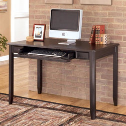 Signature Design by Ashley - Small Leg Desk in Black - Color/Finish: Black. Constructed with select Veneers and Hardwood solids. Satin Nickel finish hardware. Pull-out keyboard tray in keyboard base. Assembly Instructions. From Floor to Apron: 25 1/8 in.. Keyboard Tray: 25 5/8 in. W x 15 in. D x 2 1/8 in. H. Overall Dimensions: 48 in. W x 28 in. D x 30 in. H