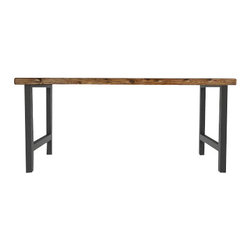 Urban Wood Goods - Sustainable Urban Wood and Steel Desk - This multitasking desk makes a major minimalist statement with simple, urban-inspired lines, reclaimed wood top and steel base. The striking, straightforward design will serve you well as a desk, dining or kitchen table, entryway console or hobby spot …  it works beautifully just about anywhere.
