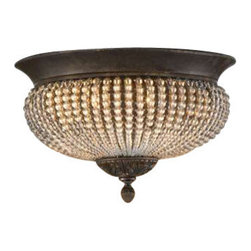 Uttermost Cristal De Lisbon Crystal Flush Mount - Rows of glass beads and golden bronze metal details. Rows of clear crystal beads fill the channels of the narrow ribs, and bouquets of the same cut crystals spill over the edges, their rich unique color catching the light in both the prisms and also in the beading.