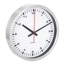 Blomus - ERA Wall Clock by Blomus - The Blomus ERA Wall Clock proves that clock design can be truly timeless. It features a sleek, round stainless steel frame, a clear glass crystal and an easy-to-read face in either bright White or deep Black with contrasting numbers. Such color options and three available sizes mean that ERA can fit seamlessly into any modern space. Blomus, headquartered in Germany, specializes in the design and manufacture of beautifully engineered home and office accessories in modern stainless steel styles.