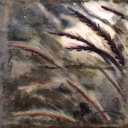 theresastirling.com - Along Came Fountain Grass - Encaustic is a luminous medium of beeswax, natural resin and oil. Each piece is uniquely made, and lovingly built up one layer at a time, using a blowtorch to fuse the brushstrokes. There is much scraping and adding that evolves into 30 or 40 layers over a photograph.  The final result glows and shows a luminosity that is beatiful and unlike any others. My inspiration comes from nature;  the arrangement of fur or leaves and how that beauty a gift to the eyes and senses.  All paintings are made to order.