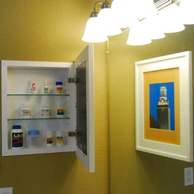 Recessed Picture Frame Medicine Cabinets with No Mirrors - Large White Concealed Cabinet with white interior from ConcealedCabinet.com.  You insert your own artwork and change it as often as you like!
