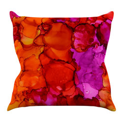 """Kess InHouse - Claire Day """"Fierce"""" Pink Orange Throw Pillow (18"""" x 18"""") - Rest among the art you love. Transform your hang out room into a hip gallery, that's also comfortable. With this pillow you can create an environment that reflects your unique style. It's amazing what a throw pillow can do to complete a room. (Kess InHouse is not responsible for pillow fighting that may occur as the result of creative stimulation)."""