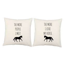 RoomCraft - Love My Horse Throw Pillow Covers 16x16 White Cotton Shams - FEATURES: