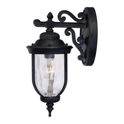 Savoy House - Savoy House 5-60320-186 Castlemain Wall Mount Lantern - An incredibly versatile and economical group with Clear Watered glass, available in a variety of sizes, plus post and hanging. Also available in Energy Star with Tuscan glass. Black with Gold finish and Clear Hammered glass.
