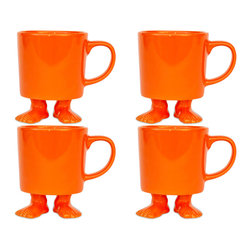 Dylan Kendall - Dylan Kendall- 4 Orange Ceramic Mugs w/ Feet - A fantastic way to wake up with a little laughter and play or bring a smile to your afternoon pick-me-up! Its the orange family of 4! Have fun saving more!