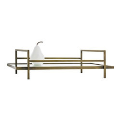 Arteriors - Charles Tray - This sleek mirrored tray floating in a frame of thin antique brass rails turns serving into presentation. The open, contemporary design and reflective surface are not only stylish, they will make each item you are serving look like a work of art.