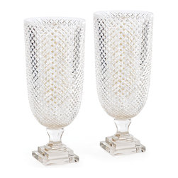 Go Home - Pair of Diamond Hurricanes - Diamond Hurricanes is fabulous home decor.Its cut glass facets magnify the light of a flaming pillar, filling the room with soft, flickering light. And there is no chance of flame-out.Sold as a Pair.