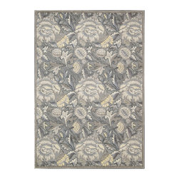"""Nourison - Nourison Graphic Illusions GIL10 2'3"""" x 3'9"""" Grey Area Rug 13165 - An overlapping, over-sized pattern turns classic flowers and flourishes into a daring act of defiance, especially when executed in shimmering shades of grey, green, blue, lilac and yellow. This expertly hand-carved area rug features a high-low loop pile construction for incredible depth and dimension."""