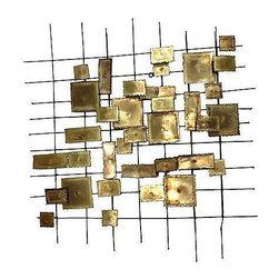 C Jere Style Geometric Brass Wall Sculpture - Dimensions 33.0ʺW × 2.5ʺD × 31.0ʺH
