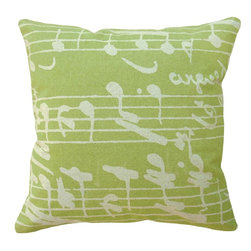 123 Creations - Sheet Music, Hand-printed Linen Pillow - Hand-printed on unbleached linen fabric. Feather-down insert with zipper closure. Machine wash cold with like colors, no bleach, tumble dry low.