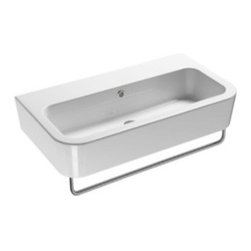 GSI - Ceramic Wall Mounted or Vessel Bathroom Sink, No Faucet Holes - Stylish wide rectangular wall mounted or above counter vessel sink for your modern or contemporary bathroom needs. Sink is made of the highest quality ceramic with a white finish. Washbasin includes overflow and the option for no faucet holes, a single hole, or three holes. Made in Italy by GSI.