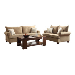 Homelegance - Homelegance Talullah 2 Piece Living Room Set in Brown Microfiber - Enriching the warmth of your transitional living room is the Talullah Collection. The subtle textured fabric of the light brown sofa and love seat is accented with a stylish pop of color lent by the perfectly contrasting plaid chair and toss pillows. Rolled arms and a plush two over- two cushion and back design ensure a stylish addition to your home.