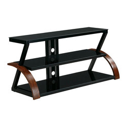 """Office Star - Office Star 47"""" Grayson TV Stand - Holds up to a 47"""" flat panel TV, cider finish, sliding glass doors, multiple shelve storage"""