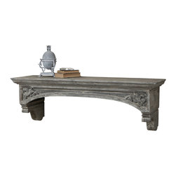 Uttermost - Uttermost Lusila Mantel - Lusila Mantel by Uttermost Gray Washed, Solid Fir Wood Gives A Weathered, Worn Expression With European-style, Hand Carved Details, And Subtle Distressing Displays The Artisan Craftsmanship With Meticulous Care.