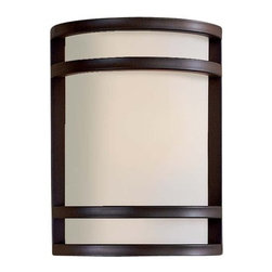 "The Great Outdoors - The Great Outdoors 9801-143-PL Oil Rubbed Bronze Bay View Energy Star - Bay View One Light Wall Sconce Energy Star Rated Fixture Etched Opal Glass Extends: 4"", ADA Compliant 1 13w Spiral PL with 120V LVS Electronic Ballast (Bulb Included)"