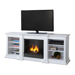 Real Flame - Fresno White Entertainment Unit and Gel Fuel Fireplace - Enjoy the beauty of a Real Flame gel fireplace, built into an entertainment unit. This unit is able to hold a television of 100 lbs. or less and has adjustable shelving, to accommodate most electronics. Use with Real Flame fireplace fuel only! See our home page for specific warnings!