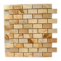 Teakwood Polished Bricks Pattern Mesh-Mounted Marble Tiles - 1 in. x 2 in. Teakwood Mesh-Mounted Bricks Pattern Marble Mosaic Tile is a great way to enhance your decor with a traditional aesthetic touch. This polished mosaic tile is constructed from durable, impervious marble material, comes in a smooth, unglazed finish and is suitable for installation on floors, walls and countertops in commercial and residential spaces such as bathrooms and kitchens.