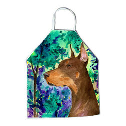 Caroline's Treasures - Doberman Apron SS8457APRON - Apron, Bib Style, 27 in H x 31 in W; 100 percent  Ultra Spun Poly, White, braided nylon tie straps, sewn cloth neckband. These bib style aprons are not just for cooking - they are also great for cleaning, gardening, art projects, and other activities, too!