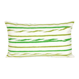 "Trans-Ocean Inc - Twist Stripe Leaf 12"" x 20"" Indoor Outdoor Pillow - The highly detailed painterly effect is achieved by Liora Mannes patented Lamontage process which combines hand crafted art with cutting edge technology. These pillows are made with 100% polyester microfiber for an extra soft hand, and a 100% Polyester Insert. Liora Manne's pillows are suitable for Indoors or Outdoors, are antimicrobial, have a removable cover with a zipper closure for easy-care, and are handwashable.; Material: 100% Polyester; Primary Color: Green;  Secondary Colors: olive, white; Pattern: Twist Stripe; Dimensions: 20 inches length x 12 inches width; Construction: Hand Made; Care Instructions: Hand wash with mild detergent. Air dry flat. Do not use a hard bristle brush."