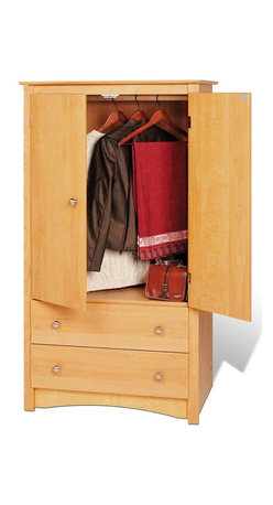 Prepac - 31.5 in. Armoire with 2 Doors - Includes a tipping restraint. Two full size drawers. Adjustable shelf inside the cabinet. Curved top edges and arched base panel. Solid brushed nickel knobs. Metal glides with built-in safety stops. Clear lacquered real wood drawer sides. Sturdy MDF backer. Warranty: Five years. Made from CARB-compliant, laminated composite woods. Natural maple finish. Made in North America. Opening: 28 in. W x 20.75 in. D x 38 in. H. Drawer: 24.75 in. W x 12.5 in. D x 5 in. H. Overall: 31.5 in. W x 22 in. D x 58.75 in. HCant decide what youre planning to store in your bedroom? The Sonoma two door armoire is versatile enough to accommodate just about anything you choose! Make the cabinet behind the double doors an entertainment center for a small TV or use the hanging rod to store the clothes that just dont fit in your closet. You can even use the adjustable shelf as a space for shoes, accessories or any other everyday items.