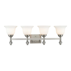 Golden Lighting - Golden Lighting 3500-BA4-PW Waverly 4 Light Bathroom Vanity Lights in Pewter - Streamlined classic forms have a timeless appeal. Suitable for transitional to traditional styles. Crystal clear glass ball accents glisten. Simple elegance is accented by the beautifully plated Pewter finish. Collection is also available in warm, plated Aged Brass finish. Opal Glass creates an updated look. Bath fixtures only available with bright Opal Glass and Pewter finish. Provides a well diffused light over a vanity or mirror for grooming. UL listed Damp location for use in bathroom or under an eave.