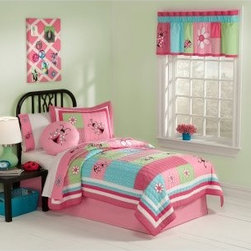 Pem America Gardener's Friend Bedding Set - Bright and colorful, the Pem America Gardener's Friend Bedding Set features brilliant blue, green, pink, and red pattern accented by flowers and ladybugs. Pink and white borders bring out the beauty of the pattern and brings the whole look together. Made from cotton and polyester, this quilt is warm, cozy, and machine washable. Bedding Set Components: Twin: quilt, 1 sham Full/Queen: quilt, 2 shams Quilt Dimensions: Twin: 86L x 68W inches Full/Queen: 86L x 86W inches About Pem America Makers of high quality handcrafted textiles, Pem America Outlet specializes in bedding that enhances your comfort and emphasizes the importance of a good night's rest. Comforters, quilts, pillows, and other items for the bedroom are made with care and craftsmanship by Pem America. Their products cover a wide range of materials, styles, colors, and designs, all made with long-lasting quality construction and soft, long-wearing materials. Details like fine stitching, embroidery and crochet decorations, and reinforced seaming make Pem America bedding comfortable and just right for you and your family.