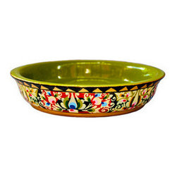 Brilliant Imports - Handpainted Floral Shallow Bowl, Small - From the same shop that designed our offering trays, comes this gorgeous bowl (available in a small size and also in a set).  These ornately painted and absolutely stunning pieces are perfect to display any treasure (we would like to recommend you protect the paint if you place anything that may be damp (plant, food, etc.)).  I fell in love with these when I went to go view the offering trays and asked artists to make these bowls with the special green (rather than red) on the inside.  Let us know how you use this piece in your space - we would love to hear!  Painted in a tantalizing array of colors.  Made in jempinis wood.