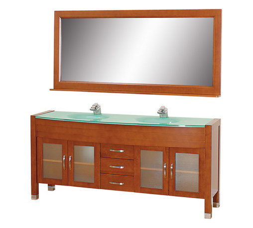 Wyndham - Daytona 71in. Double Bathroom Vanity Set - Cherry/Green Glass - The Daytona 71 in.  Double Bathroom Vanity Set - a modern classic with elegant, contemporary lines. This beautiful centerpiece, made in solid, eco-friendly zero emissions wood, comes complete with mirror and choice of counter for any decor. From fully extending drawer glides and soft-close doors to the 3/4 in.  glass or marble counter, quality comes first, like all Wyndham Collection products. Doors are made with fully framed glass inserts, and back paneling is standard. Available in gorgeous contemporary Cherry or rich, warm Espresso (a true Espresso that's not almost black to cover inferior wood imperfections). Transform your bathroom into a talking point with this Wyndham Collection original design, only available in limited numbers. All counters are pre-drilled for single-hole faucets, but stone counters may have additional holes drilled on-site.
