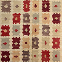 "ALRUG - Handmade Beige Oriental Kilim  6' 10"" x 10' 1"" (ft) - This Afghan Kilim design rug is hand-knotted with Wool on Wool."