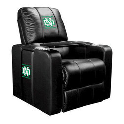 Dreamseat Inc. - University of North Dakota NCAA ND Home Theater Plus Leather Recliner - Check out this awesome Leather Recliner. Quite simply, it's one of the coolest things we've ever seen. This is unbelievably comfortable - once you're in it, you won't want to get up. Features a zip-in-zip-out logo panel embroidered with 70,000 stitches. Converts from a solid color to custom-logo furniture in seconds - perfect for a shared or multi-purpose room. Root for several teams? Simply swap the panels out when the seasons change. This is a true statement piece that is perfect for your Man Cave, Game Room, basement or garage. It combines contemporary design with the ultimate comfort from a fully reclining frame with lumbar and full leg support.
