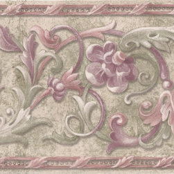 York Wallcoverings - Green Red Molding Floral Wallpaper Border - Wallpaper borders bring color, character and detail to a room with exciting new look for your walls - easier and quicker then ever.