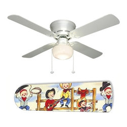 """Cowboy Kids Rodeo 42"""" Ceiling Fan and Lamp - 42-inch 4-blade ceiling fan with a dome lamp kit that comes with custom blades. It has a white flushmount fan base. It has an energy efficient 3-speed reversible airflow motor for year long comfort. It comes with complete installation/assembly instructions. The blades can be cleaned with a damp cloth. It is made with eco-friendly/non-toxic products. This is brand new and shipped in the original box. This is not a licensed product, but is made with fully licensed products. Note: Fan comes with custom blades only."""