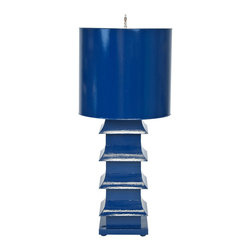 """Worlds Away - Worlds Away Navy Painted Large Tole Pagoda Lamp LMPHL-NV - Navy painted large tole pagoda lamp with 13"""" dia painted tole shade. Ul approved for one 60 watt bulb."""