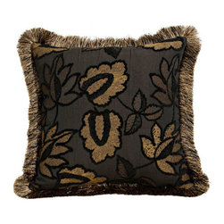 Canaan Company - 20x20 Black Accent Pillow with Brush Fringe Trim - - Chenille  - 100% Poly  - Spot Clean Or Dry Clean Canaan Company - P-305-B