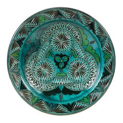 """Ceramic (Wood-fired) - Teal Carved Decorative Plate - Teal Carved 11"""" Decorative Plate"""