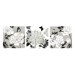 Yosemite Home Decor - Monochromatic Floral Art - Black and white can be more than just that. This beautiful floral painting features shades of grey to beautifully contrast with the flowers and butterflies depicted. This artwork makes the perfect addition to any hallway, living room or bedroom.