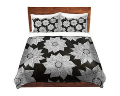 DiaNoche Designs - Duvet Cover Twill - Elegant Floral - Lightweight and super soft brushed twill Duvet Cover sizes Twin, Queen, King.  This duvet is designed to wash upon arrival for maximum softness.   Each duvet starts by looming the fabric and cutting to the size ordered.  The Image is printed and your Duvet Cover is meticulously sewn together with ties in each corner and a concealed zip closure.  All in the USA!!  Poly top with a Cotton Poly underside.  Dye Sublimation printing permanently adheres the ink to the material for long life and durability. Printed top, cream colored bottom, Machine Washable, Product may vary slightly from image.
