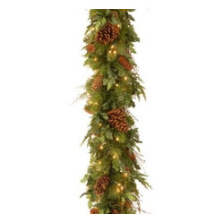 6 ft. Decorative Collection Juniper Mix Pine Pre-Lit Garland - Battery Operated