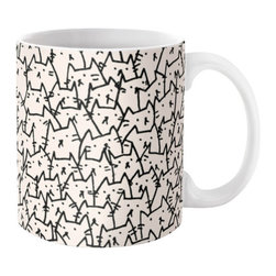 Contemporary Cats Mug, 15oz - Available in 11 and 15 ounce sizes, our premium ceramic coffee mugs feature wrap-around art and large handles for easy gripping. Dishwasher and microwave safe, these cool coffee mugs will be your new favorite way to consume hot or cold beverages.