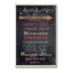 Stupell Industries - Wine Tasting Typography Chalkboard Look Kitchen Wall Plaque - Treat your home to some style with one this decorative wooden wall plaques.    It is produced on sturdy half-inch thick MDF wood, and comes with a saw tooth hanger on the back for instant use.  The sides are hand finished and painted so a perfect crisp look.  MADE IN USA.